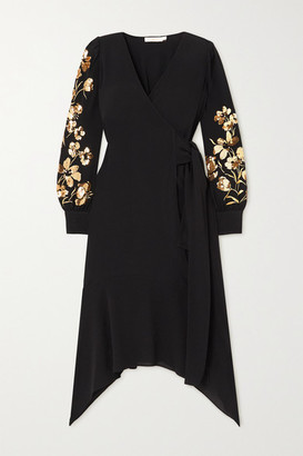 Tory Burch Asymmetric Embellished Embroidered Crepe Wrap Dress - Black