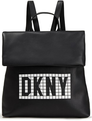 DKNY Tilly Logo-embellished Faux Textured-leather Backpack