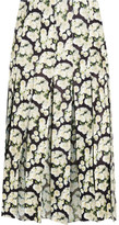 ADAM by Adam Lippes Pleated Floral-print Leather And Silk-chiffon Skirt - Black
