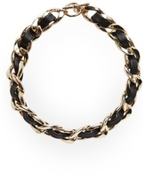 MANGO Chain link faux leather necklace