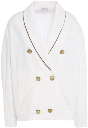 Brunello Cucinelli Double-breasted Bead-embellished French Cotton-blend Terry Blazer