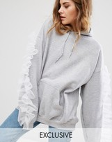 Reclaimed Vintage Oversized Hoodie With Sleeve Ruffle In Mesh