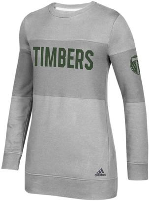 adidas Women's Heathered Gray Portland Timbers Team Dominance Long Sleeve Tunic Sweatshirt