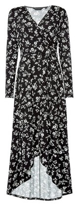 Dorothy Perkins Womens Black Floral Print Jersey Wrap Dress, Black