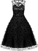 Fanala Women's Retro Floral Lace Cap Sleeve Vintage Swing Bridesmaid Dress