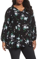 Sejour Plus Size Women's Floral Bell Sleeve Tunic