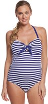 Pez D'or Pez Dor Maternity Rimini Textured Marine Striped One Piece Swimsuit 8131950