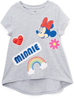 Freeze Minnie Mouse Heather Gray Rainbow Hi-Low Tee - Girls