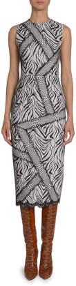 Andrew Gn Abstract Zebra-Print Sheath Dress