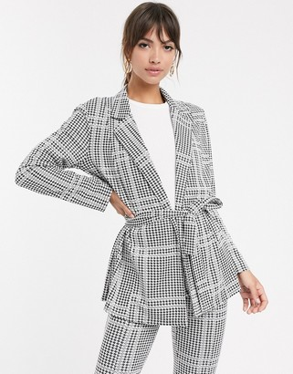 ASOS DESIGN jersey check wrap belted suit blazer