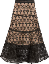 Alexis Anmarie grosgrain-trimmed embroidered tulle midi skirt