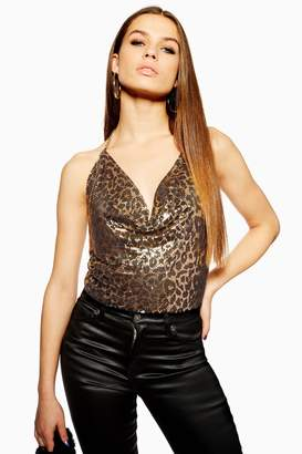 Topshop Womens Leopard Print Chainmail Top - Gold