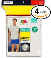 Fruit of the Loom Mens 4Pack TALL Crewneck T-Shirts Undershirt 2XL