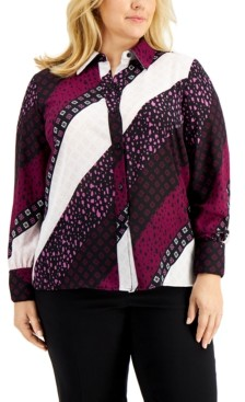 Bar III Plus Size Collared Blouse, Created for Macy's