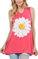 Magic Fit Coral & White Big Daisy V-Neck Swing Tank