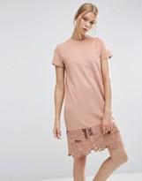 Asos T-shirt Dress With Cutwork Hem