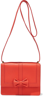 Boutique Moschino Bow-embellished Textured-leather Shoulder Bag