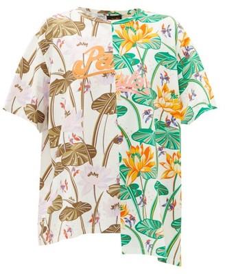 Loewe Paula's Ibiza - Asymmetric Floral-print Jersey T-shirt - White Multi