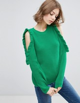 Asos Chunky Sweater With Ruffle Cold Shoulder Detail