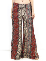 West Coast Wardrobe Island Fever Print Gaucho Pants with Side Ties in Black/Fuchsia
