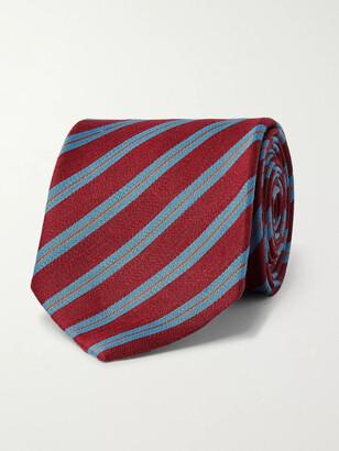 Charvet 7cm Striped Silk And Linen-Blend Tie