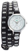 La Mer Women's Baguette Stud Leather Wrap Strap Watch, 35Mm