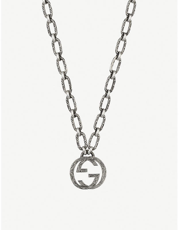 Gucci Interlocking G sterling silver logo necklace