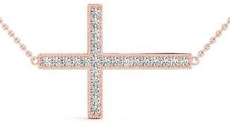 14KT 0.25 CT East-West Round Cut Diamond Cross Pendant Necklace Amcor Design