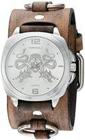 Nemesis 'Dragon King of Skulls' Quartz Stainless Steel and Leather Watch, Color:Brown (Model: KDFRB910S)