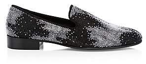 Giuseppe Zanotti Men's Camoscio Swarovski Crystal Suede Loafers