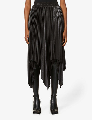 Givenchy Logo-print pleated high-waisted crepe midi skirt