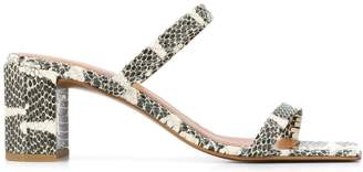 BY FAR Snakeskin Effect Strappy 70mm Heeled Sandal