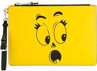 Moschino face print clutch bag