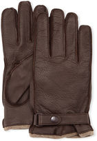 Portolano Cashmere-Lined Leather Gloves with Snap