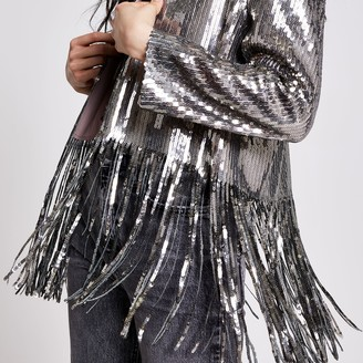 River Island Womens Silver sequin tassel cropped kimono jacket