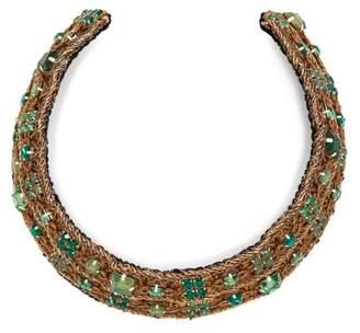 Rebecca De Ravenel Carmen Embellished Collar - Womens - Green