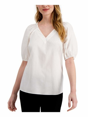 Alfani Womens White Solid Pouf V Neck Top UK Size:24