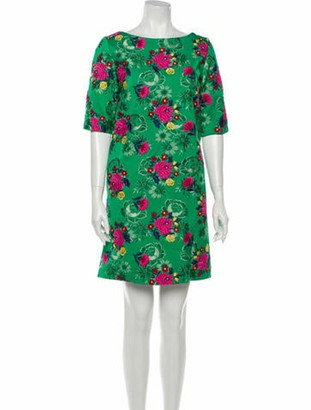 Marni Floral Print Mini Dress Green