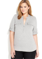 Calvin Klein Plus Size Roll-Tab-Sleeve Zip-Front Shirt