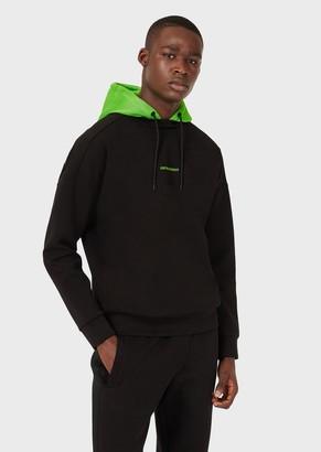 Emporio Armani Sweatshirt With Mesh Hood And City Print