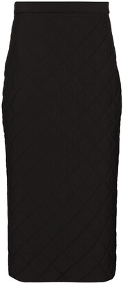 Markoo Quilted Pencil Midi Skirt