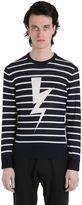 Neil Barrett Bolts Striped Cotton Jacquard Sweater