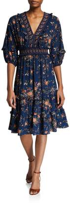 Max Studio Bubble-Sleeve Floral-Print Crepe Dress