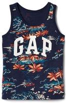 Gap Tropic floral logo slub tank