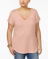 Almost Famous Trendy Plus Size Cage-Front Crochet Top