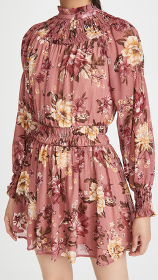 Floral Print Mini Dress With Long Sleeves