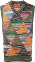 Missoni knitted zig-zag vest - men - Cotton/Linen/Flax/Nylon/Wool - 48