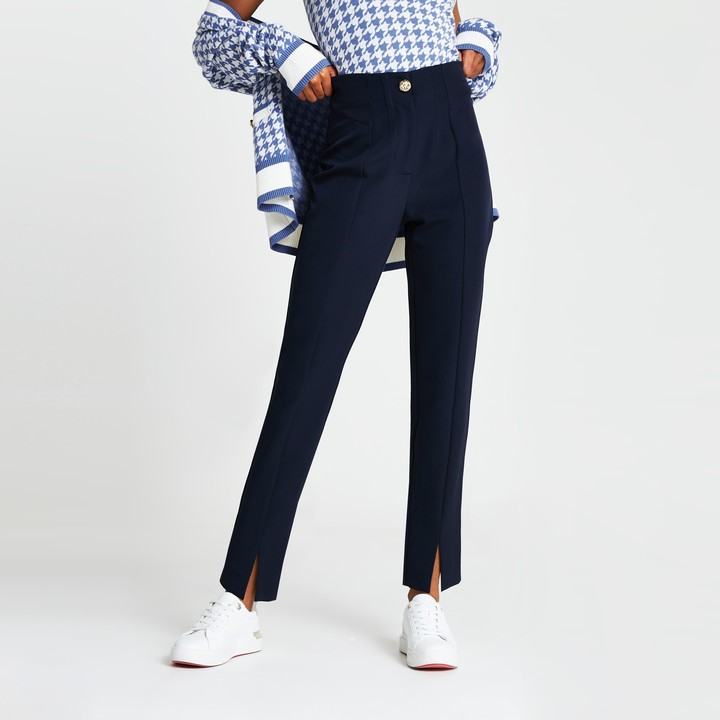 Thumbnail for your product : River Island Womens Navy split front cigarette trousers