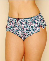 Yours Clothing Teal & Multi Ditsy Floral Print Short Briefs With Bows