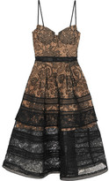 Self-Portrait Tiered Paneled Guipure Lace Dress - Black
